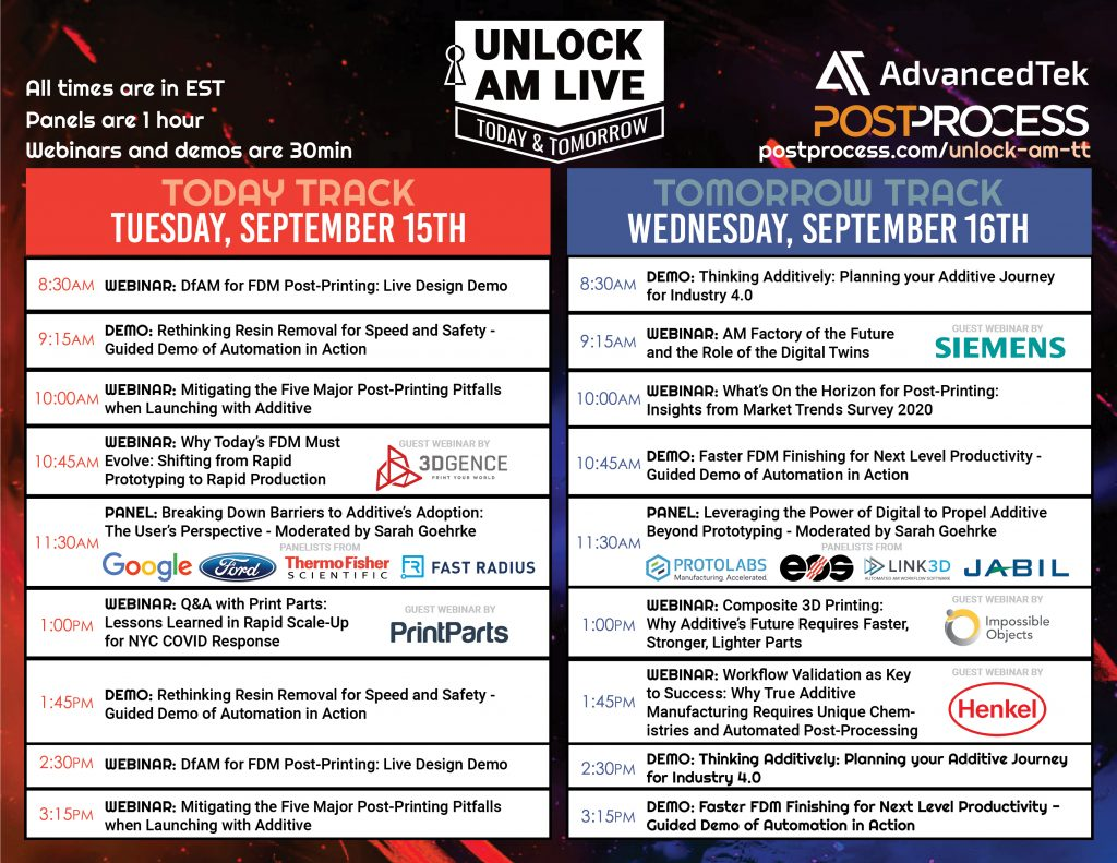 PostProcess Unlock AM Live Schedule