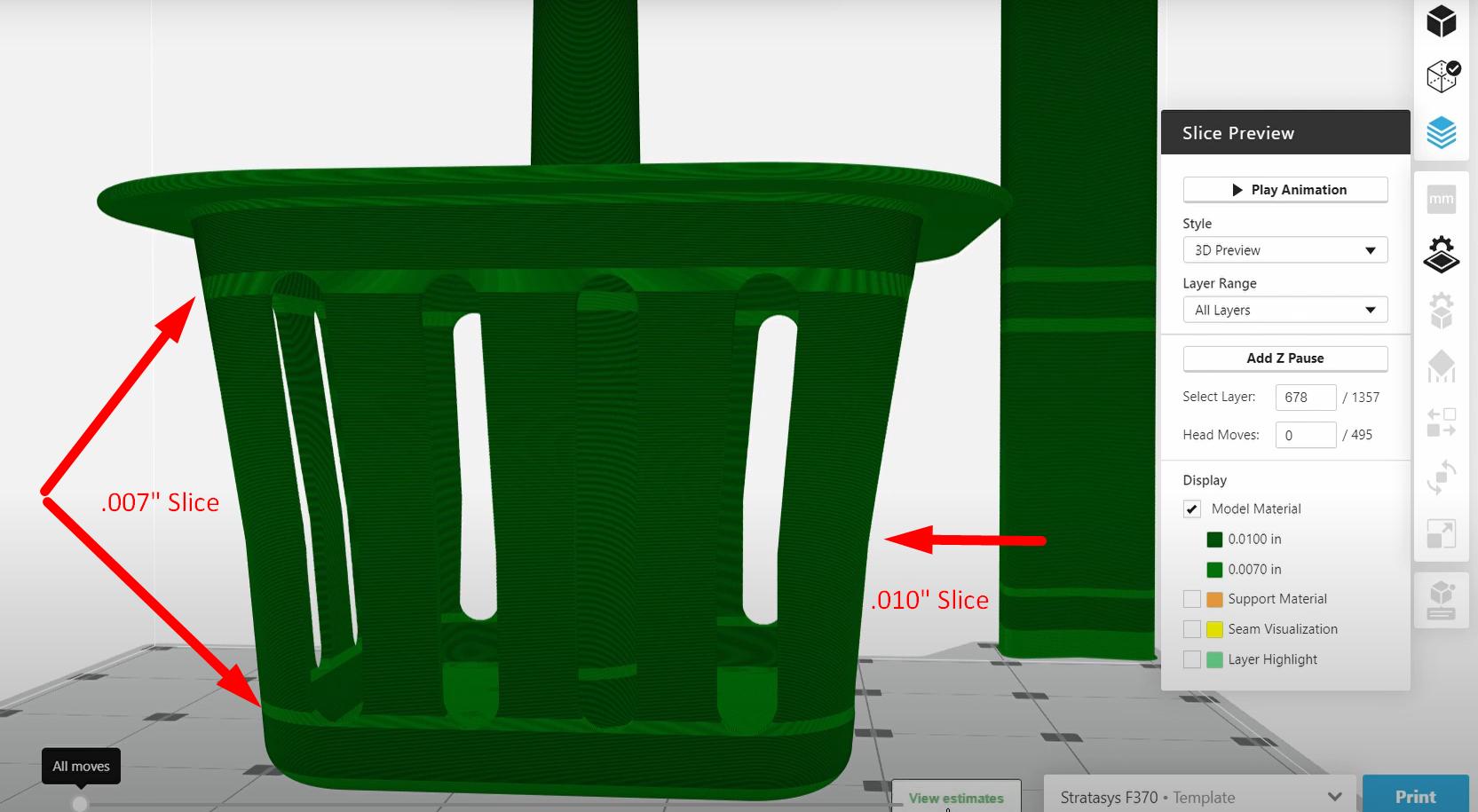 Adaptive Slice Example in GrabCAD Print